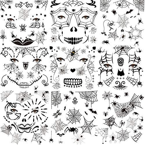 HOWAF Temporäre Schwarz Spinnen Tattoos, 10 Blatt Halloween Spinnen Gesicht Tattoo, Schaurige Spinnennetz Tattoos Damen Klebetattoos für Halloween Masquerade Karneval Punk Party
