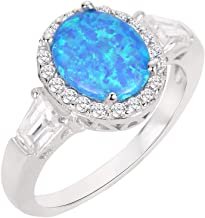 CloseoutWarehouse Oval Halo Cubic Zirconia Ring Sterling Silver (Color Options, Sizes 4-15)