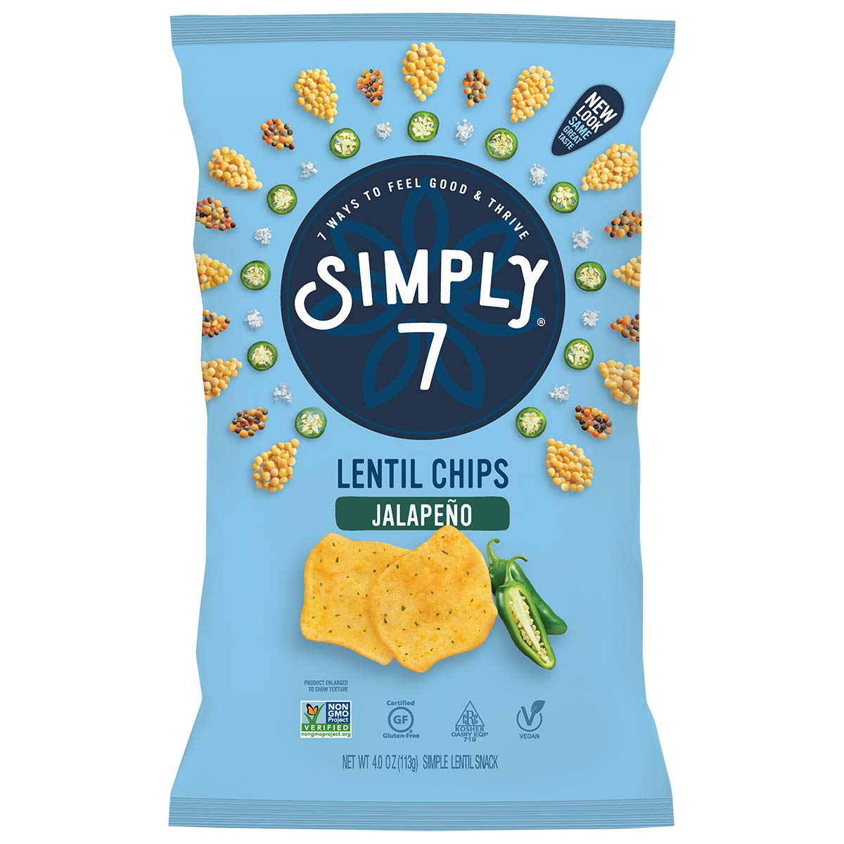 Simply 7 Lentil Chips, Jalapeno, Packaging May Vary, 4 Oz