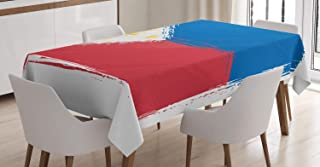 Ambesonne Filipino Tablecloth, Brush Stroke Style Grungy Philippines National Flag Print, Dining Room Kitchen Rectangular Table Cover, 52