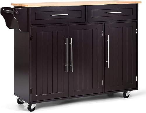 Giantex Kitchen Island Cart Rolling Storage Trolley Cart with Lockable Castors, 2 Drawers, 3 Door Cabinet, Towel Handle, Knife Block for Dining Room Restaurant Use (Brown)