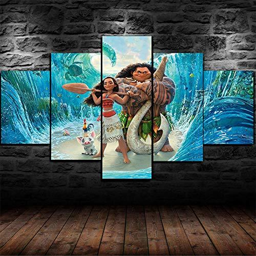 CVBGF 5 Teilig Leinwandbilder Bild auf Leinwand/Moana Maui Heihei/Vlies Wandbild Kunstdruck Wanddeko Wand Kunstdruck Malerei, Mit Rahmen-Größe:M/W=150Cm,H=80Cm