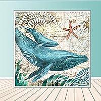 キャンバス絵画北欧現代壁アート海洋動物プリント油絵ウミガメオクトパスクラゲ家の装飾アートワーク70x70cmフレームレス