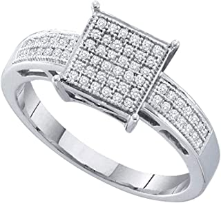 FB Jewels Sterling Silver Womens Round Diamond Square Cluster Ring 1/5 Cttw Size 7