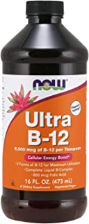 NOW Supplements, Ultra B-12, Liquid, 800 mcg Folic Acid, Cellular Energy Production*, 16-Ounce
