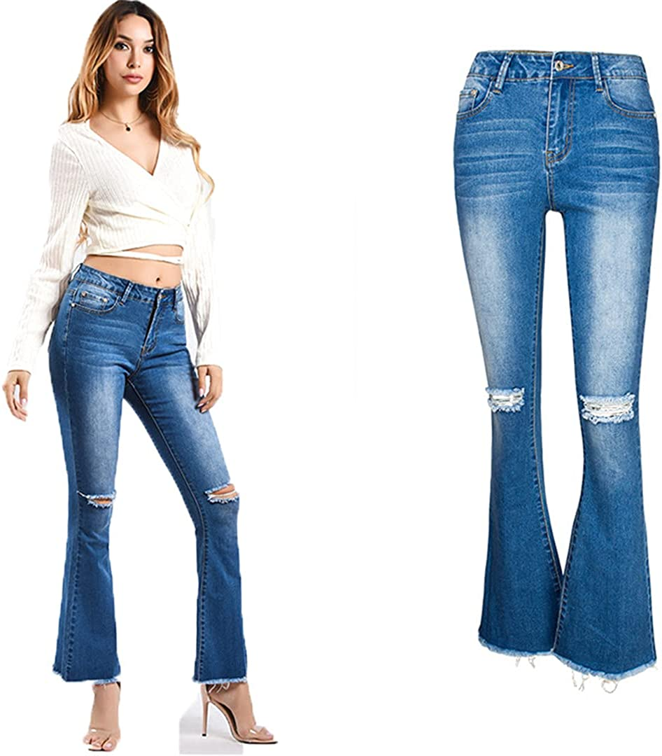 PokemHent Jeans Woman Stretch New mail order Flare Jea Pants Knee Denim Ripped Bombing free shipping
