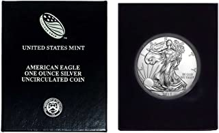 2018-1 Ounce American Silver Eagle in Plastic Air Tite and Blue Gift Box Dollar Uncirculated Us Mint