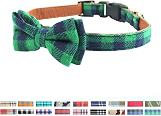 Bow Tie Dog Collar - Cute Plaid Sturdy Soft Cotton&Leather Dog Collars for Small Medium Large Dogs Breed Puppies Adjustabl...