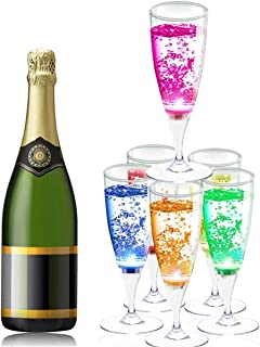 YANX 6 Pack LED Wine Glasses Champagne Flutes Light Up Glasses LED Liquid Activated Champagne Glasses Event Party Supplies
