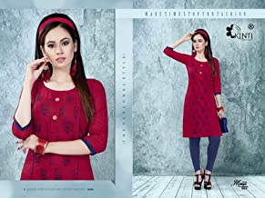 Pure Cotton Kurta & Kurtis Tops For Women Casual Wear-Large(Size)-Rosewood Red