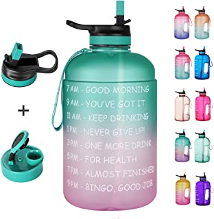 Opard 64 oz/Half Gallon Motivational Water Bottle with Time Marker & Straw Large Water Bottle with 2 Lids (Chug and Straw) Leakproof BPA Free 2L Water Jug for Sports