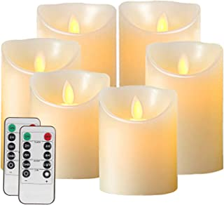 Salipt Flameless Candles Battery Operated Pillar Real Wax Flickering Moving Wick Electric LED Candle Sets with Timer and 10-key Remote Control, 4
