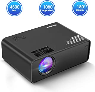 ManyBox Mini Projector, 4500 LUX Portable Video Projector with 45000 Hrs LED Lamp Life, Full HD 1080P Supported, Compatible with TV PS4, HDMI, VGA, TF, AV and USB-2020 Upgraded Version