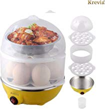 KREVIA Plastic 2 Layer Egg Boiler Cooker and Steamer Assorted Color -1pcs