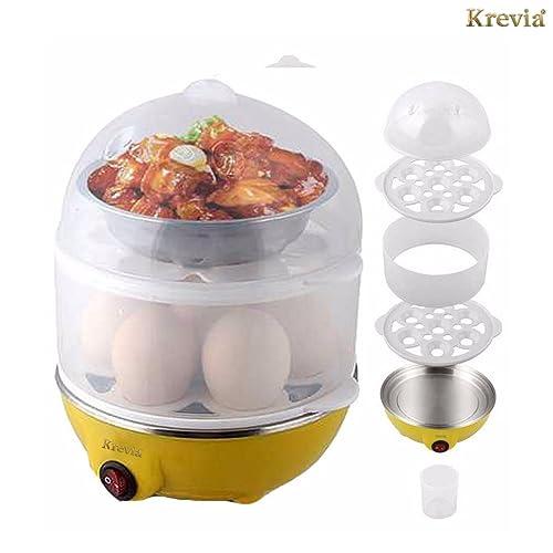 KREVIA Plastic 2 Layer Egg Boiler Cooker and Steamer Assorted Color -1pcs
