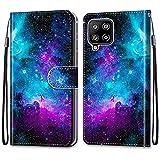 ShinyHülle für Samsung Galaxy A42 5G,Lederhülle Brieftasche Handyhülle ID Kartenfächer Magnetischer Etui Protective Anti-Scratch Schutz PU Leder Hülle für Samsung Galaxy A42 5G -Lila Sternenhimmel
