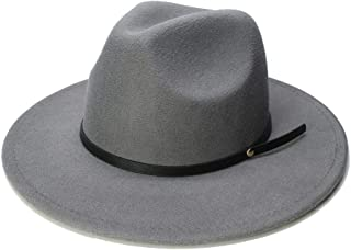 Fashion Wool Pork Pie Boater Jazz Top Hat for Women's Men's Felt Wide Brim Fedora Gambler Hat WUXiaodanfhat (Color : Gray, Size : 56-58CM)