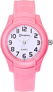 Kids Analog Watch,Girls Boys Waterproof Soft Strap Learning Time Wrist Watch for Children,Easy to Read Time WristWatches as Kids Gift(Black/Pink/Blue/White/Purple)