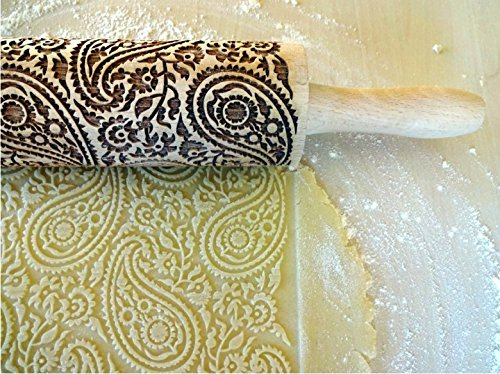 PAISLEY ROLLING PIN ENGRAVED ROLLING PIN with PAISLEY PATTERN for EMBOSSED COOKIES GIFT for MOTHER FRIEND