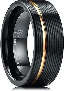 8mm Multi Facet Black Tungsten Rings Textured Brushed Mens Wedding Offset Slice Bands