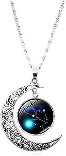 Clenp Collares para Mujer, 12 Constelaciones, Media Luna, Signo del Zodiaco, Astrología, Horóscopo, Colgante, Collar