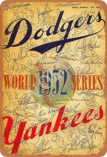 No/Brand 1952 World Series Baseball Cartel de Chapa Metal Advertencia Placa de Chapa de Hierro Retro Cartel Vintage para Dormitorio Pared Familiar Aluminio Arte Decoración