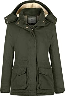 WenVen Women's Casual Hooded Parka Insulated Sherpa Jacket