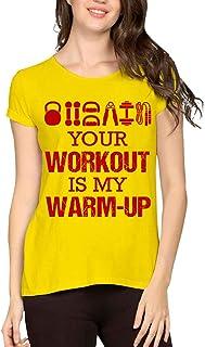 Caseria Women's Cotton Biowash Graphic Printed Half Sleeve T-Shirt - Your Workout My Warmup