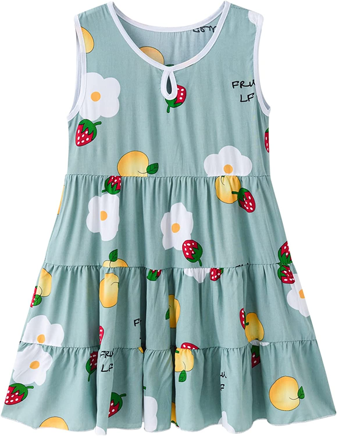 Girls Casual Summer Floral Sleeveless Dress Matching Outfits for Girls 6-12 Years