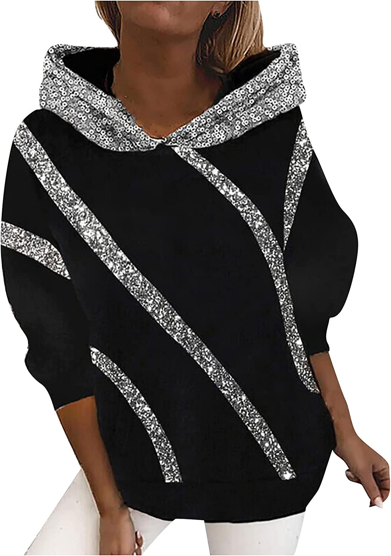 Sequin Kawaii Hoodies for Womens Fall Fashion Long Sleeve Shirts Winter Casual Hooded Blouse Tops Sweatshirt Pullover