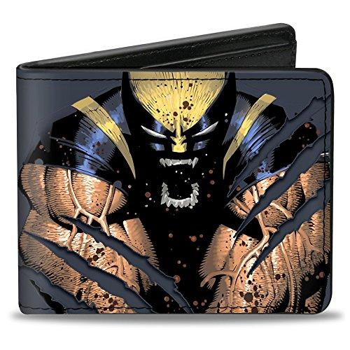 X-MEN Wolverine Wolverine - Cartera plegable de poliuretano con cierre de hebilla, color gris