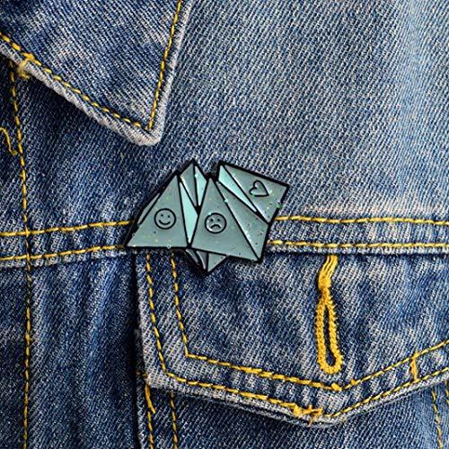 Pin de esmalte con diseño de origami, para chaquetas, mochilas, ropa, bonitas opciones de amor y sonrisa