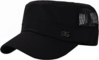 Men Flat Top Cadet Army Hat Twill Military Style Army Cap