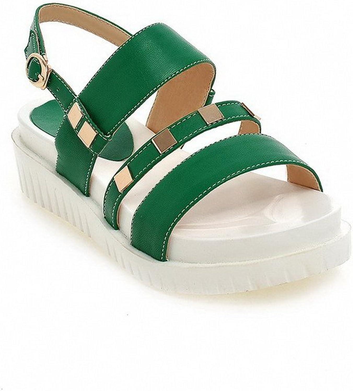 AmoonyFashion Women's PU Solid Buckle Open Toe Kitten-Heels Sandals with Metal Ornament