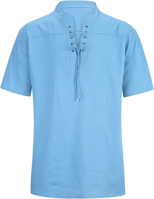 JSPOYOU Men's Henley Shirts Baggy Cotton Linen T Shirts Casual Long Sleeve Drawsting Top Summer Casual Workout Tops Blouse