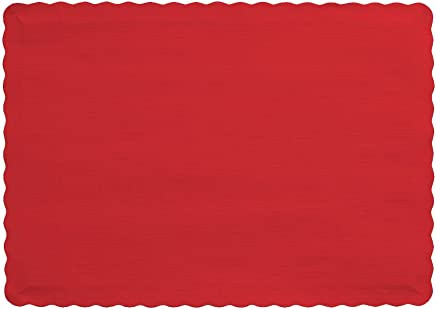 Creative Converting 863548B Paper Scalloped Edges Placemats 10 x 14 Classic Red
