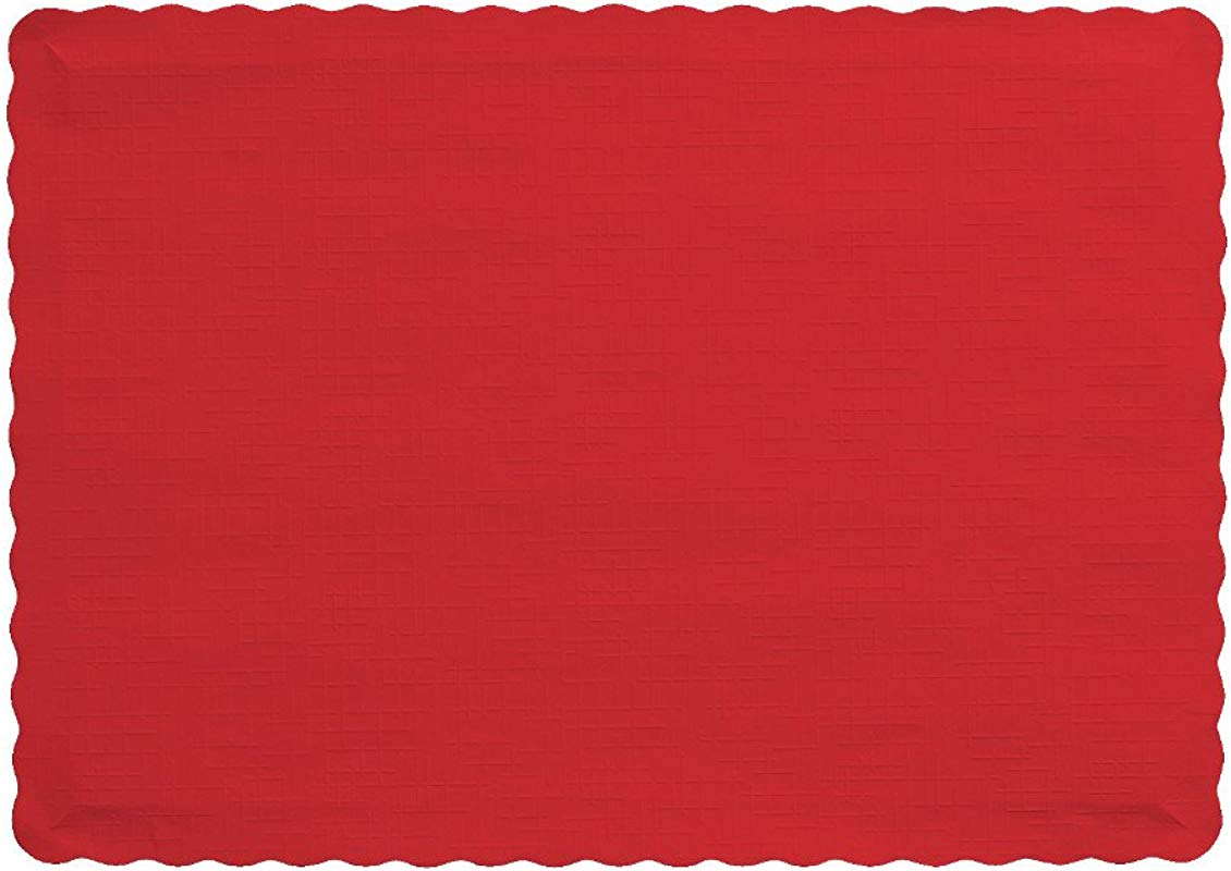 Creative Converting 863548B Paper Scalloped Edges Placemats 9 45 X 13 25 Classic Red