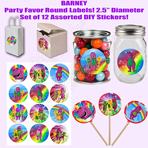 "Barney Stickers, Large 2.5"" Round Circle Stickers to place onto Party Favor Bags, Cards, Boxes or Containers -12 pcs, Purple Dinosaur, Baby Bop, B.J., Riff"