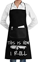 Unisex Bib Apron This Is How I Roll Skateboard Washable Polyester Kitchen Apron For Women