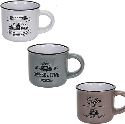 Preisvergleich für JEMIDI Moderne Espressotassen im 3er Set aus Keramik Espresso Tassen Mokkatassen Tasse Vintage Retro Design 1