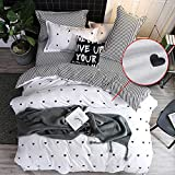 CCoutueChen Girls Duvet Cover Set Twin Size Kids Cute Black Heart Shape Printing White Bedding Set Striped Reversible 3 Pcs Soft Breathable Microfiber Comforter Cover for Teens Woman