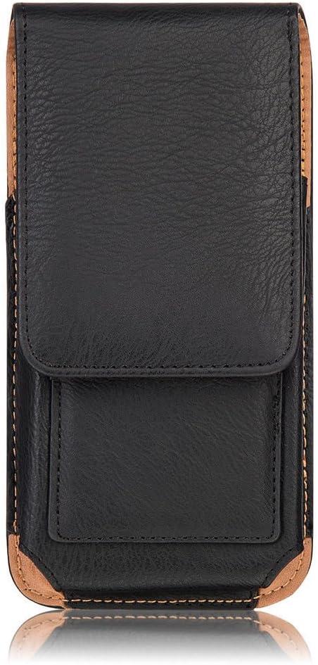 Jlyifan PU Leather Vertical Executive Belt Clip Holster Pouch Case for iPhone X/iPhone 8 / Motorola Moto E4 / G5 / Google Pixel 2 / BLU Studio J2 / Pro/Samsung Galaxy J3 (Black)