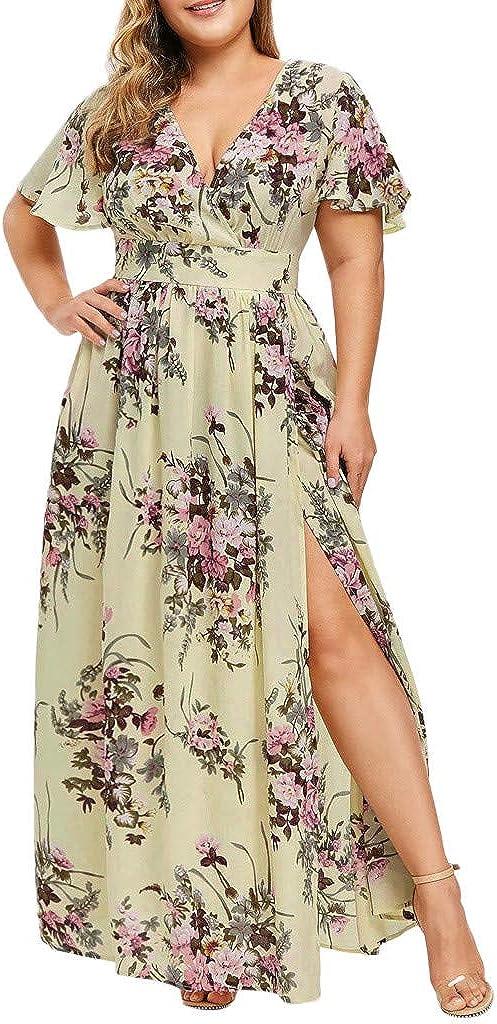 KYLEON Womens Plus Award-winning store Size Sun Ranking TOP17 Dress Flora Wrap V Waist Empire Neck
