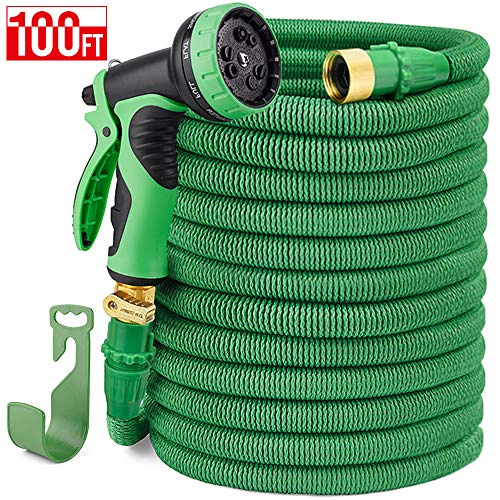 Delxo 100FT Expandable Garden Hose Water Hose with 9-Function High-Pressure Spray Nozzle,Black Heavy Duty Flexible Hose, 3/4' Solid Brass Fittings Leakproof Design (Green)