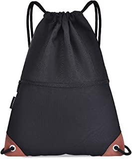 Gym Sack Drawstring Backpack Water-Resistant Drawstring Bucket Bag with Zipper Pockets Light Sack for Adults Teenagers