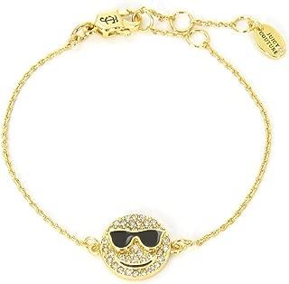 Black Label Gold Pave Crystal Smiley Face Charm Bracelet WJW70973