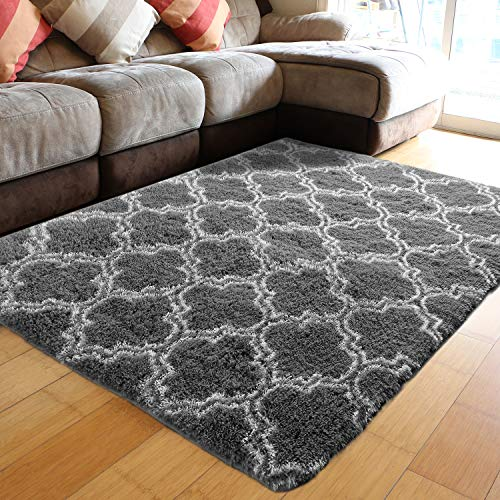 PAGISOFE Super Soft Fluffy Shag Modern Moroccan Geometric Trellis Floor Area Carpet Furry Lattice Fuzzy Rug Shaggy Rugs for Bedroom Living Room Plush Patterned Rugs 4x6 Ft (Dark Grey and White)