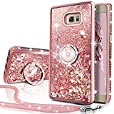 Silverback Phone case Compatible with Samsung Galaxy Note 5, Girls Women Moving Liquid Holographic Sparkle Glitter Case with Kickstand, Bling Bumper W/Ring Stand Slim for Samsung Galaxy Note 5 -RD