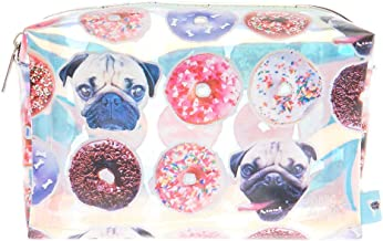 Claire's Doug The Pug Girl's Doug The Pug Holographic Donut Print Cosmetics Bag
