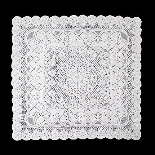 yazi - Nappe de table européenne rustique en dentelle - Foulard floral vintage brodée fleur de prunier - Blanc, blanc, 90x90cm